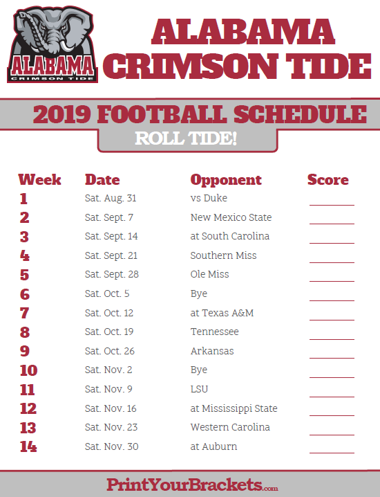 photograph relating to Fsu Football Schedule Printable named 2019 Alabama Pink Tide Soccer Routine Printable