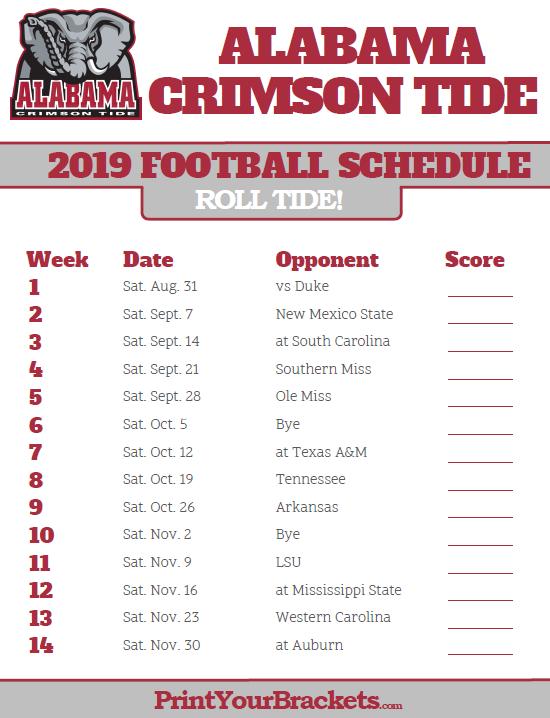 Auburn Football Schedule 2019 2019 Alabama Crimson Tide Football Schedule | Printable College