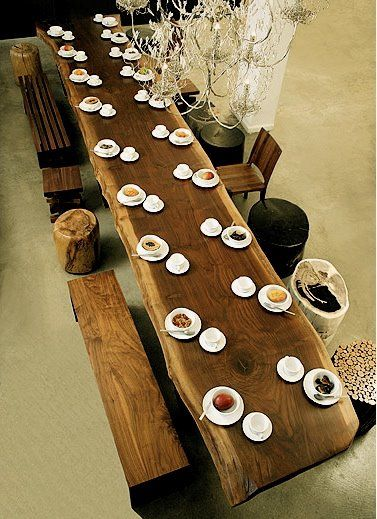 Dream dining table..@Desiree Baldwin this one MIGHT fit us all : )