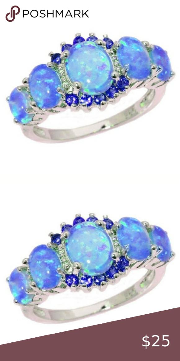 Stunning Silver Blue Fire Opal Blue Sapphire Ring Stunning Blue Fire Opal Statement Ring 925 Ster Blue Sapphire Rings Opal Statement Ring Womens Jewelry Rings