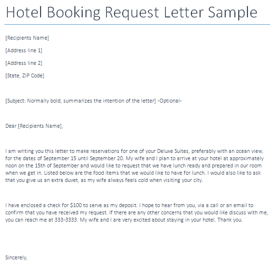 Tags Hotel Room Reservation Letter Format Booking Cancellation