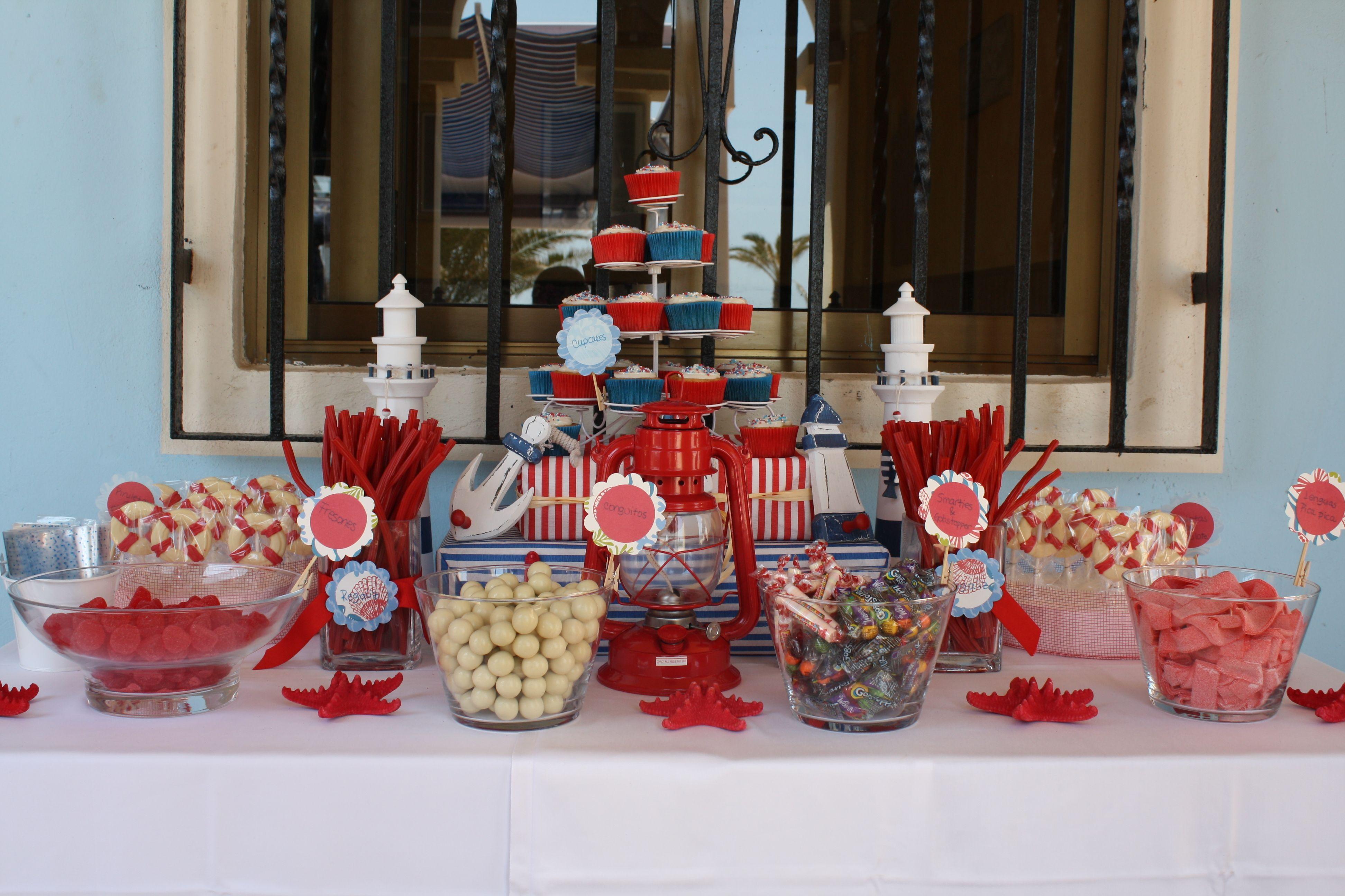 Mesa de dulces marinera bubblykido ejemplos para mesa de chuches pinterest mesa de - Fiesta marinera decoracion ...