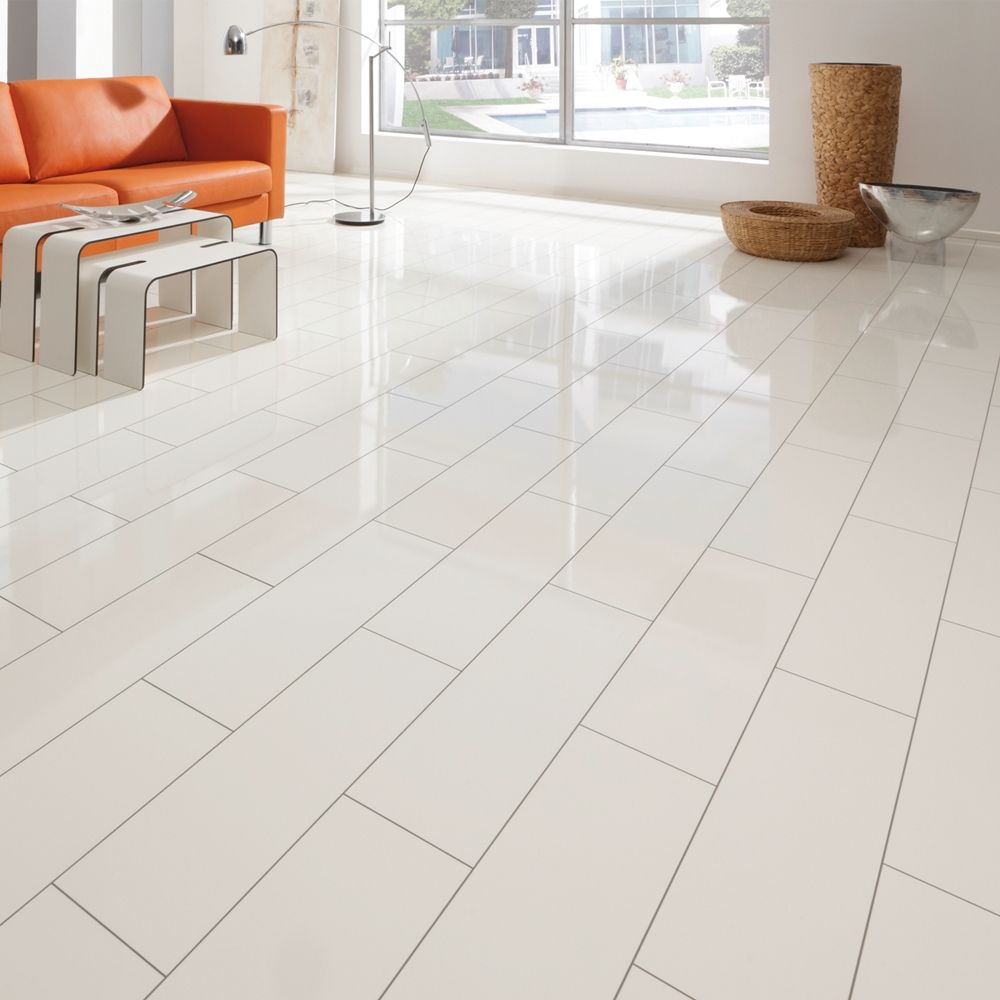 White Laminate Flooring Super High Gloss