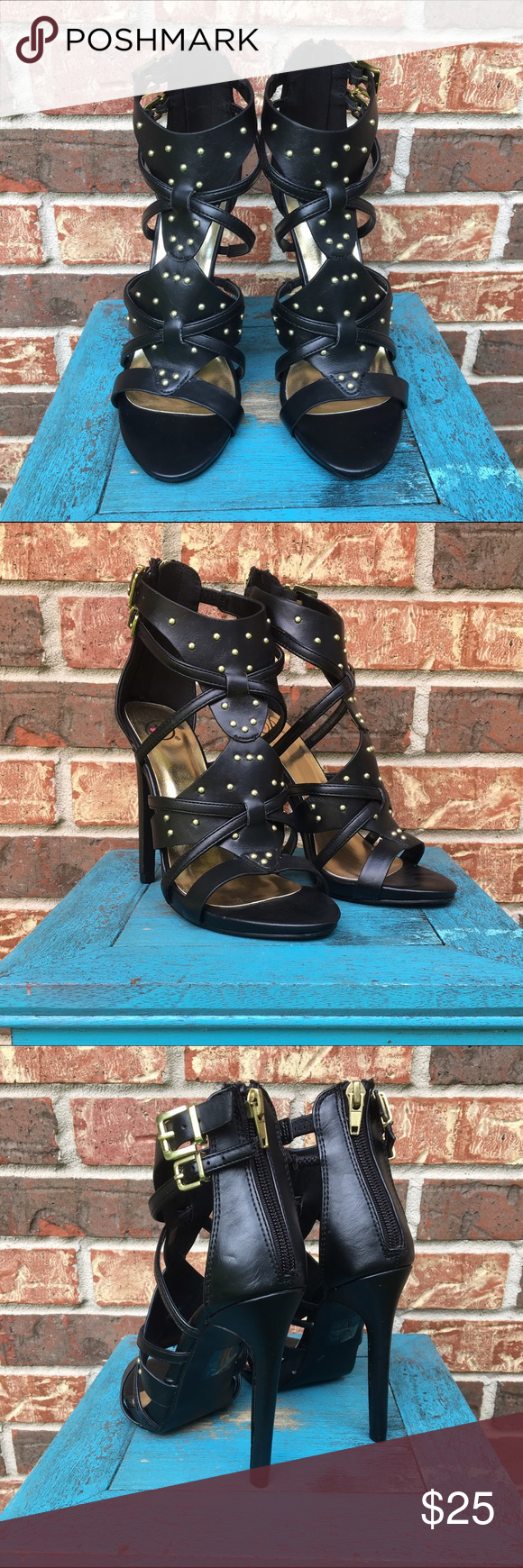 Black heels Black heels with gold stud accents. Zipper back. Perfect condition. Shoes Heels