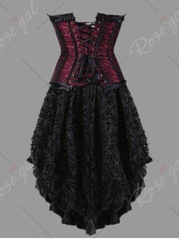 plus size flounce two piece corset dress  corset dress