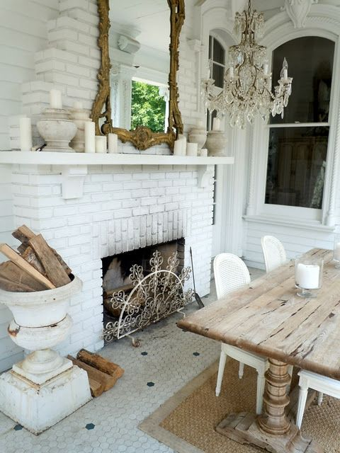 30 Beautiful And Cozy Fall Dining Room Décor Ideas: Cozy Vintage Style Dining Room. White Brick Fireplace, Urn