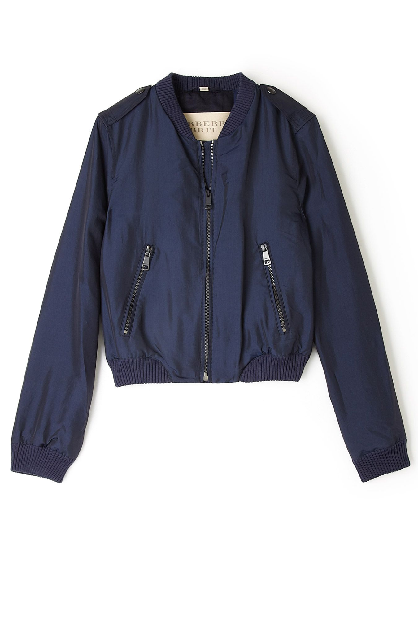 Navy Silk Bomber Jackets By Burberry Brit Stylish Jackets Jackets Silk Bomber Jacket [ 2000 x 1350 Pixel ]