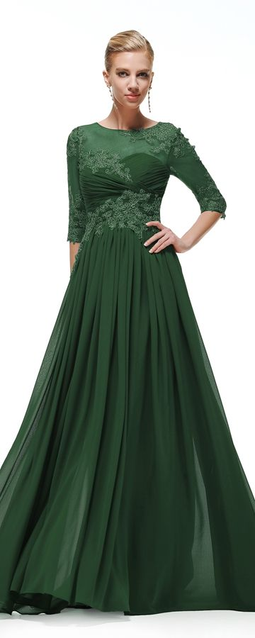 Forest green modest bridesmaid dresses with sleeves for Forest green wedding dress