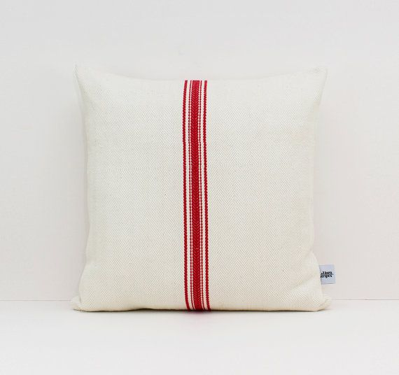 Vintage grain sack pillow cover with Red by LinenandStripes