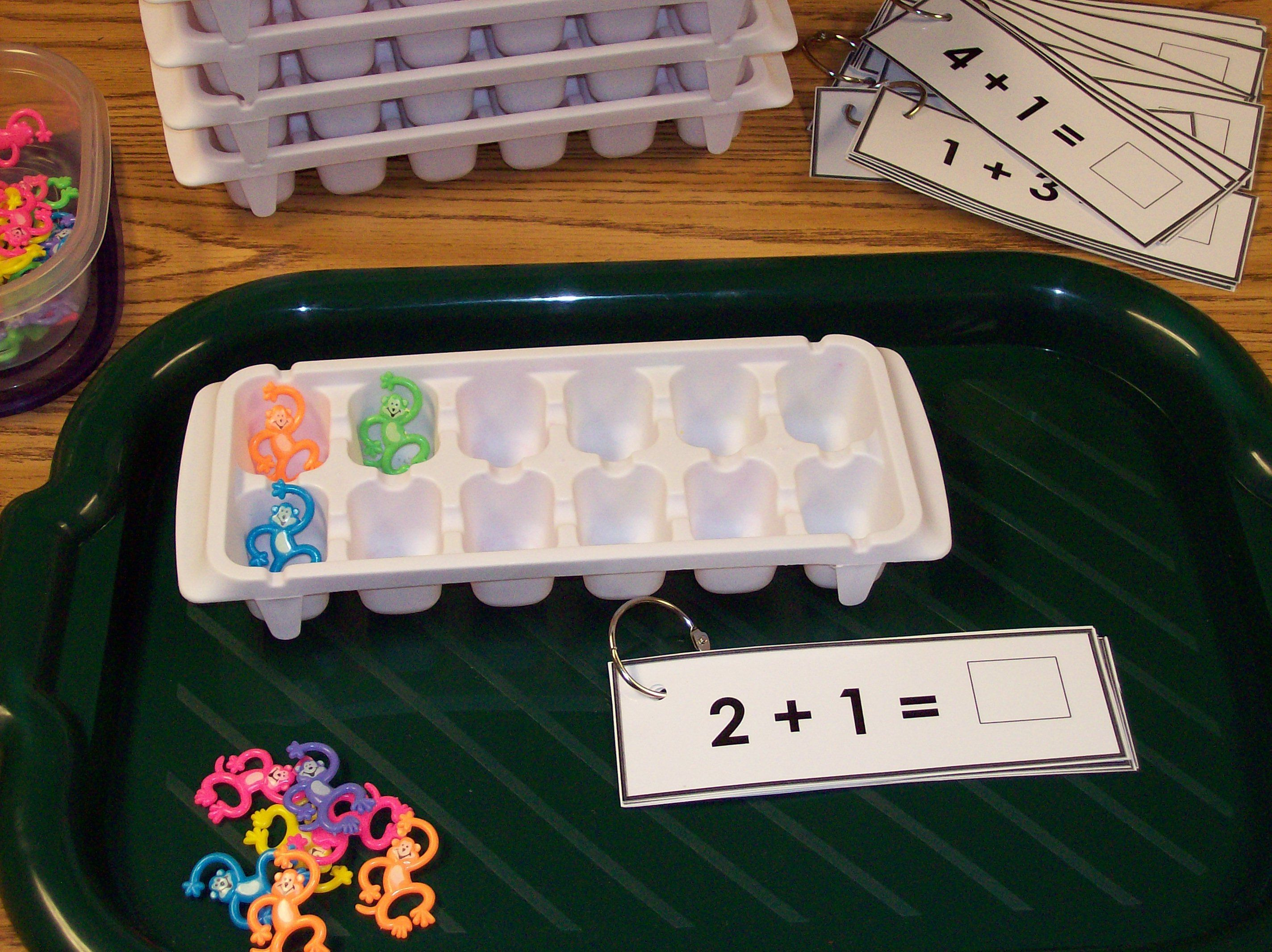 adding use ice cube tray...great website for math ideas