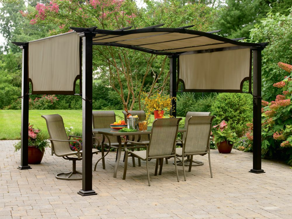 garden oasis 8 ft x 10 ft curved pergola canopy home. Black Bedroom Furniture Sets. Home Design Ideas