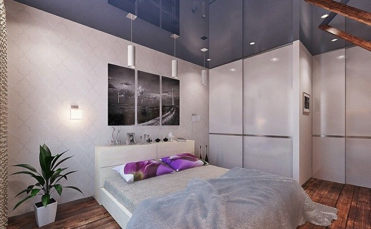 Interior Design, Purple White Bedroom Blue Gloss Ceiling Treatment Pendant Lamp Feather Blankets Patterned Wall Wooden Floor Painting Mountened Lamp And Decoration ~ Elegant Feminine Interior Design in Modern Decoration Layout