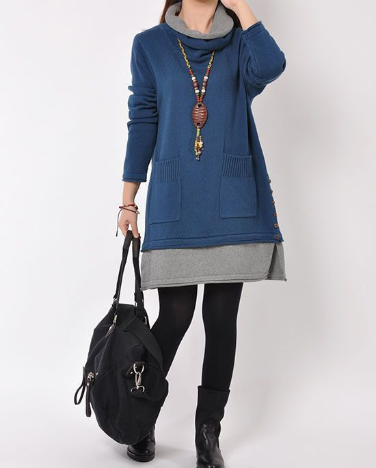 Blue cotton sweater/sweater dress/knitwear /large knitted sweater/Turtleneck/casual loose sweater blouse/plus size sweater cotton blouse
