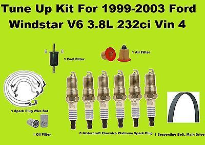 1999 2003 Ford Windstar Tune Up Kit Spark Plug Serpentine Belt