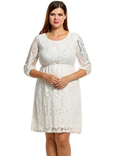 5497b9dbef2d Meaneor Women Plus Size 3/4 Sleeve Lace A-Line Dress Meaneor https: