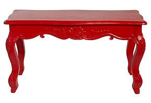 Lucy Wooden Carved Table, Shiny Red  #onekingslane and #designisneverdone