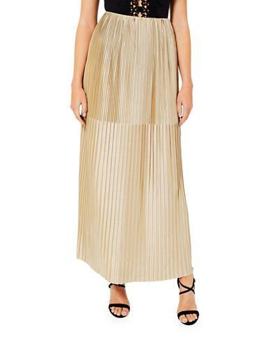 Miss Selfridge Gold Pleat Maxi Skirt Women's Gold US 8/UK 12
