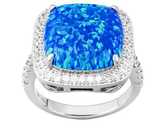 Charles Winston For Bella Luce(R)3.88ctw Blue Opal/White Diamond Simul