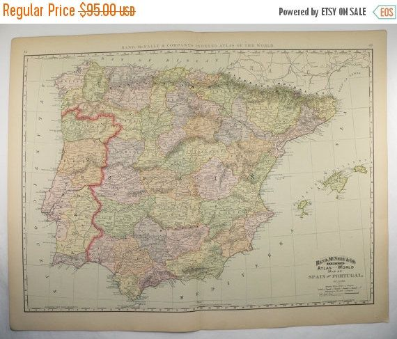Large Spain Map, Portugal 1896 Vintage Map, 1st Anniversary Gift for - new antique world map images