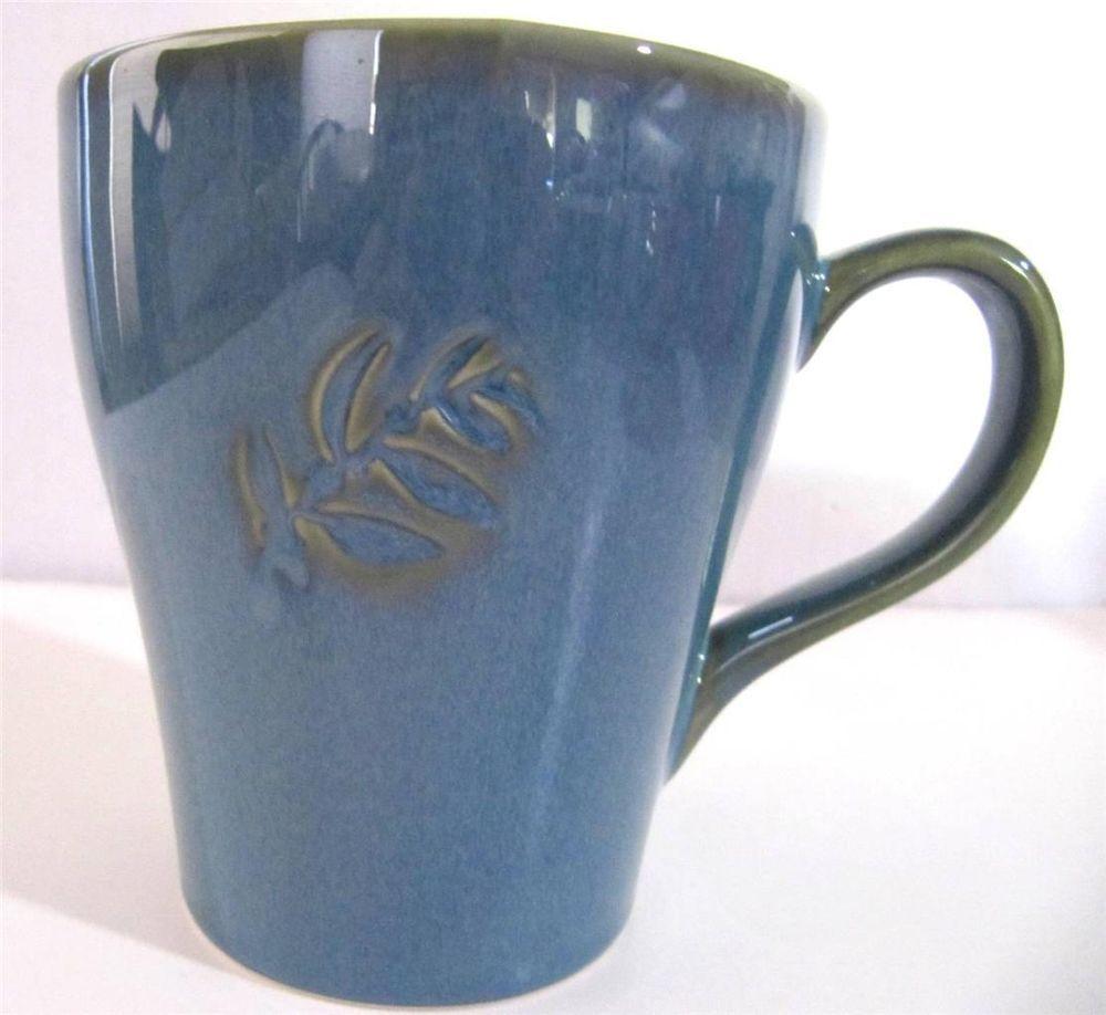 Starbucks teal blue large coffee mug cup incised leaf for Blue mug designs