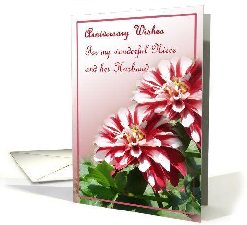 Niece And Her Husband Wedding Anniversary Dahlia Flowers Card Wedding Anniversary Cards Wedding Anniversary Wedding Cards
