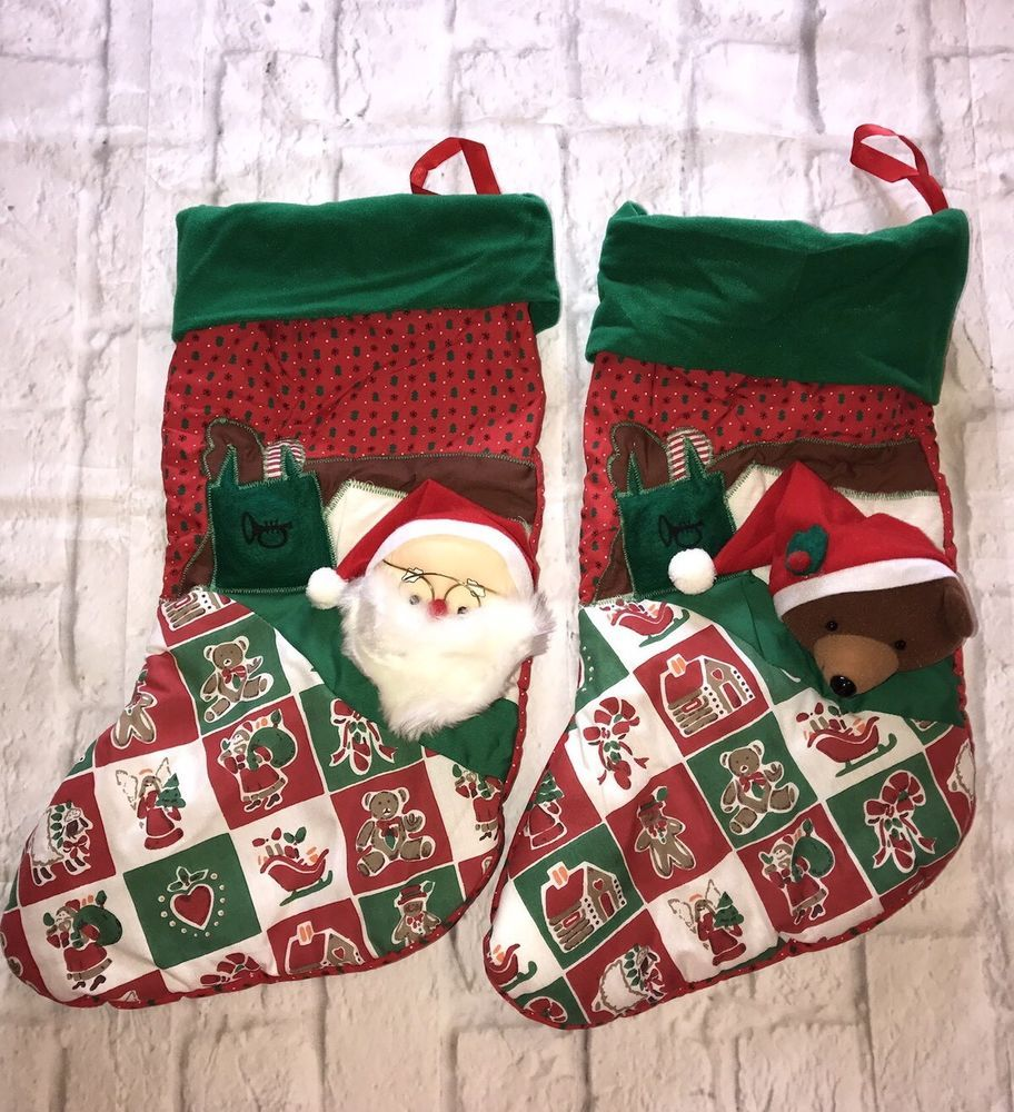 holiday classics santa claus and bear plush red green christmas stockings gift ebay - Red And Green Christmas Stockings