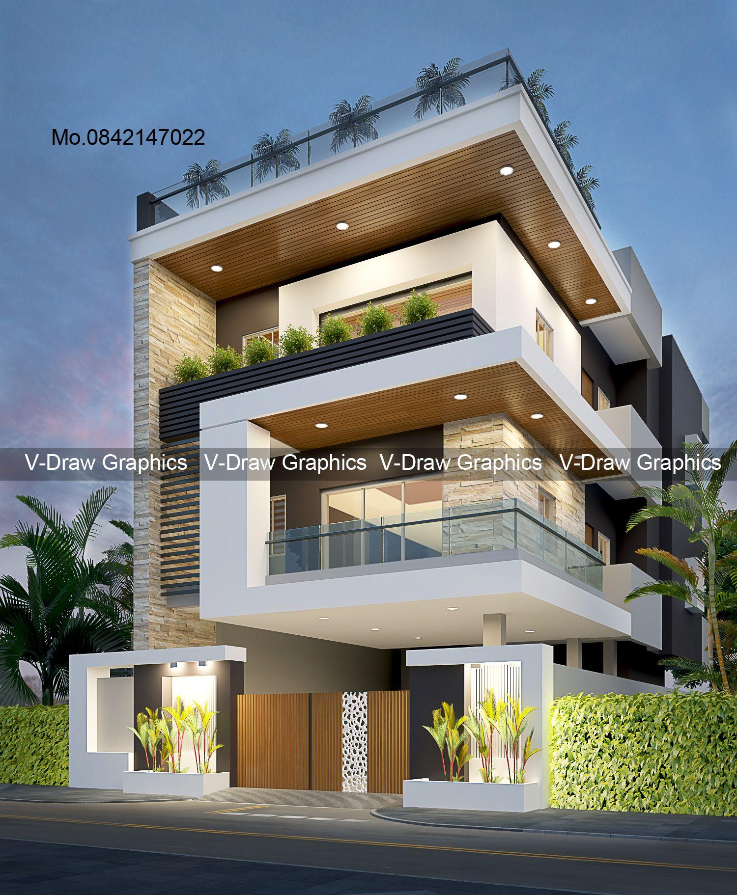 Pin By Raj Shikar On Exterior Design 3 Storey House Design Bungalow House Design Small House Elevation Design