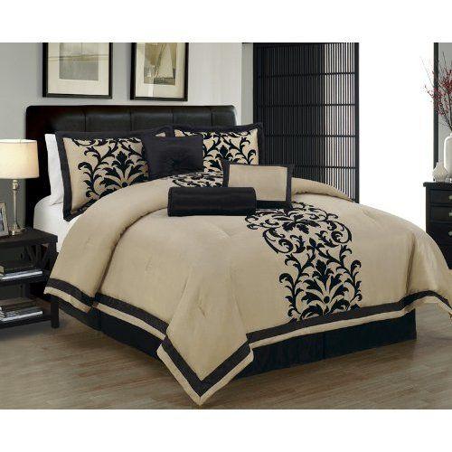 Amazon Com 7 Piece Cal King Dawson Black And Taupe Comforter Set