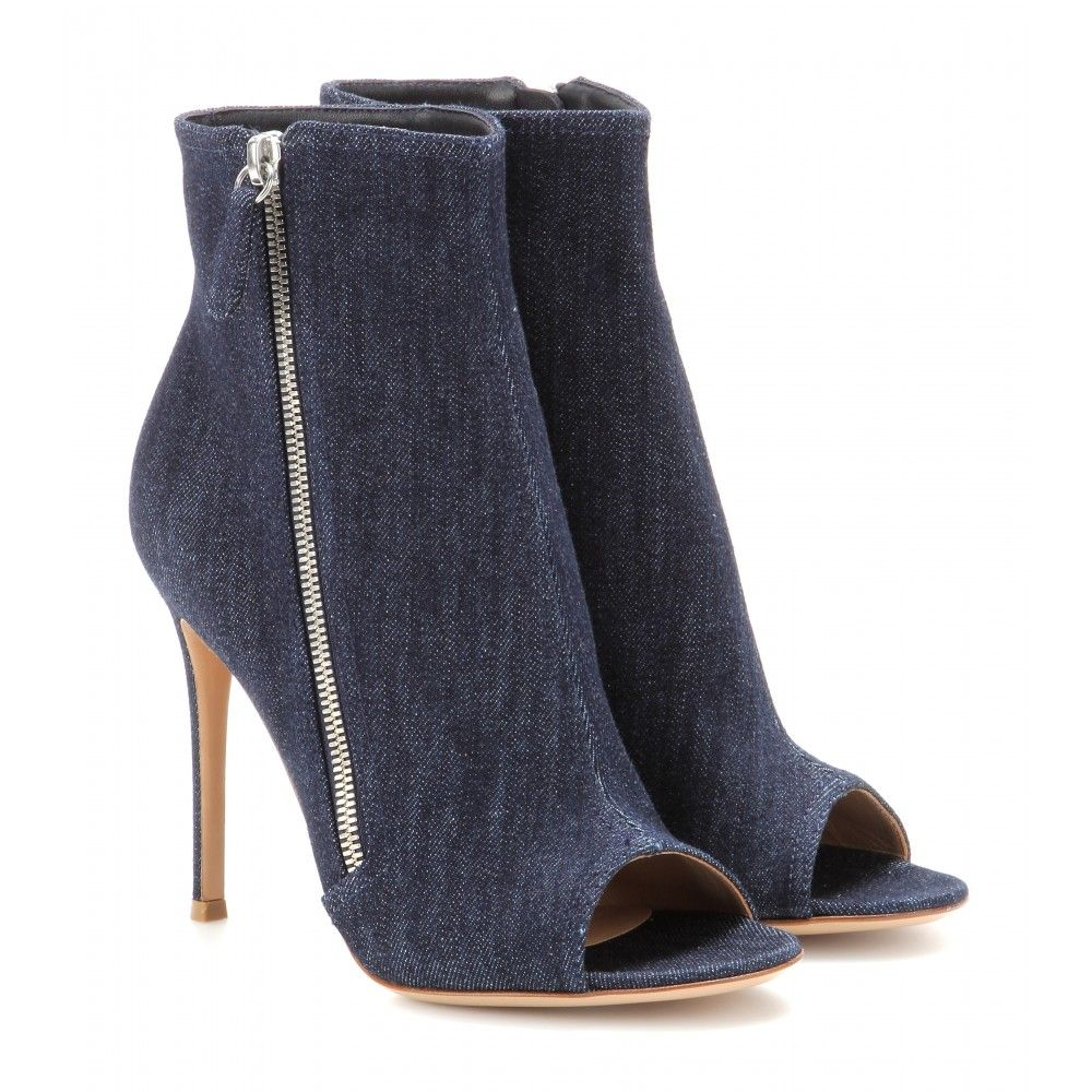 Denim ankle boots - high heel - Ankle boots - Shoes - Luxury Fashion for Women / Designer clothing, shoes, bags