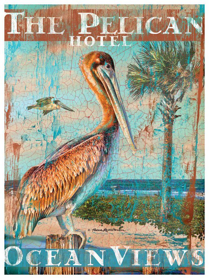 The Pelican Hotel Artwork Beach House Decor Coastal Living Boutique Nautical Seaside