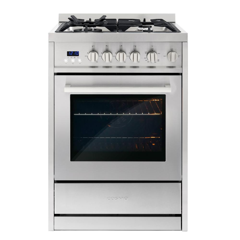 Cosmo 24 In 2 73 Cu Ft Single Oven Gas Range With 4 Burner Cooktop And Heavy Duty Cast Iron Grates In Stainless Steel Silver In 2020 Single Oven Gas Oven Oven Burner