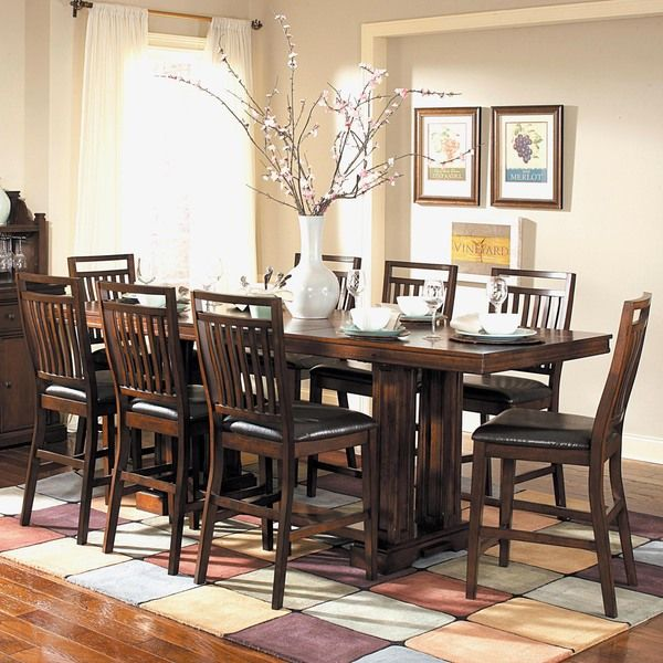 TRIBECCA HOME Harper Warm Cherry 9 Piece Counter Height Dining Set    Overstock™ Shopping