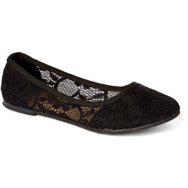 7a67cf8e0e4af Com Fancy Black Lace Flat ($4.79) ❤ liked on Polyvore featuring shoes, flats,  kohl shoes, dressy shoes, dressy flats, flat shoes and synthetic shoes