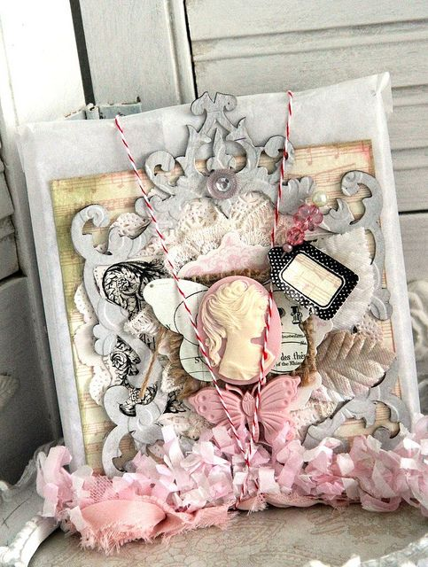 Packaging Front using Webster Pages' Rhinestones, Bloomers, Decorative cameo/ Butterfly (Everyday Poetry) , Decorative Pins by DT member Emeline.