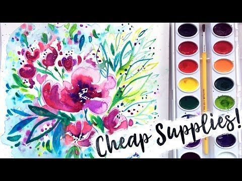 Cheap Art Supplies Challenge Crayola Watercolors Brushes