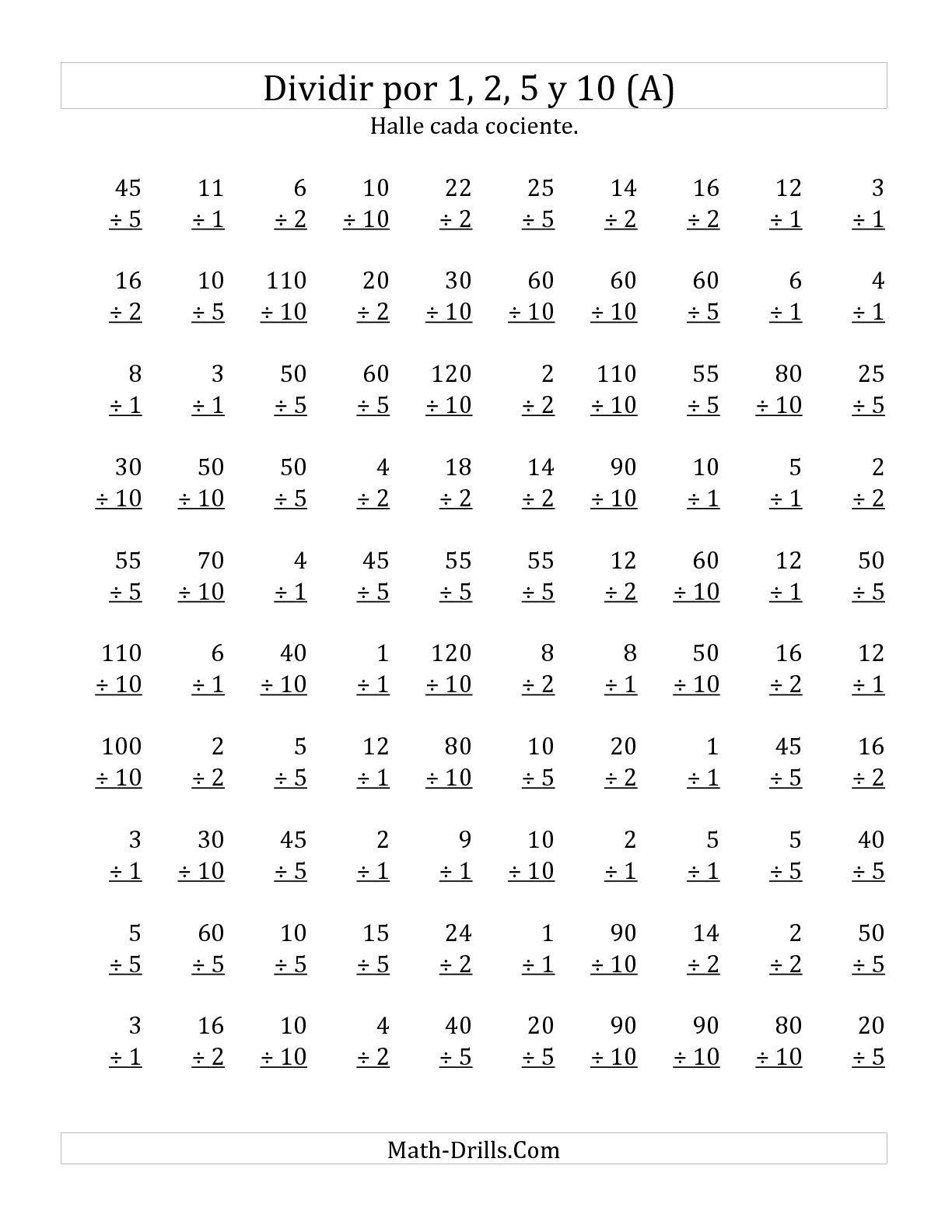 La hoja de ejercicios de matemáticas de Divisiones Básicas por 1, 2 ...