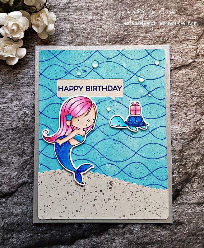 Mermaid Birthday Unicorn Card Gatefold Cards Kids Birthday Cards