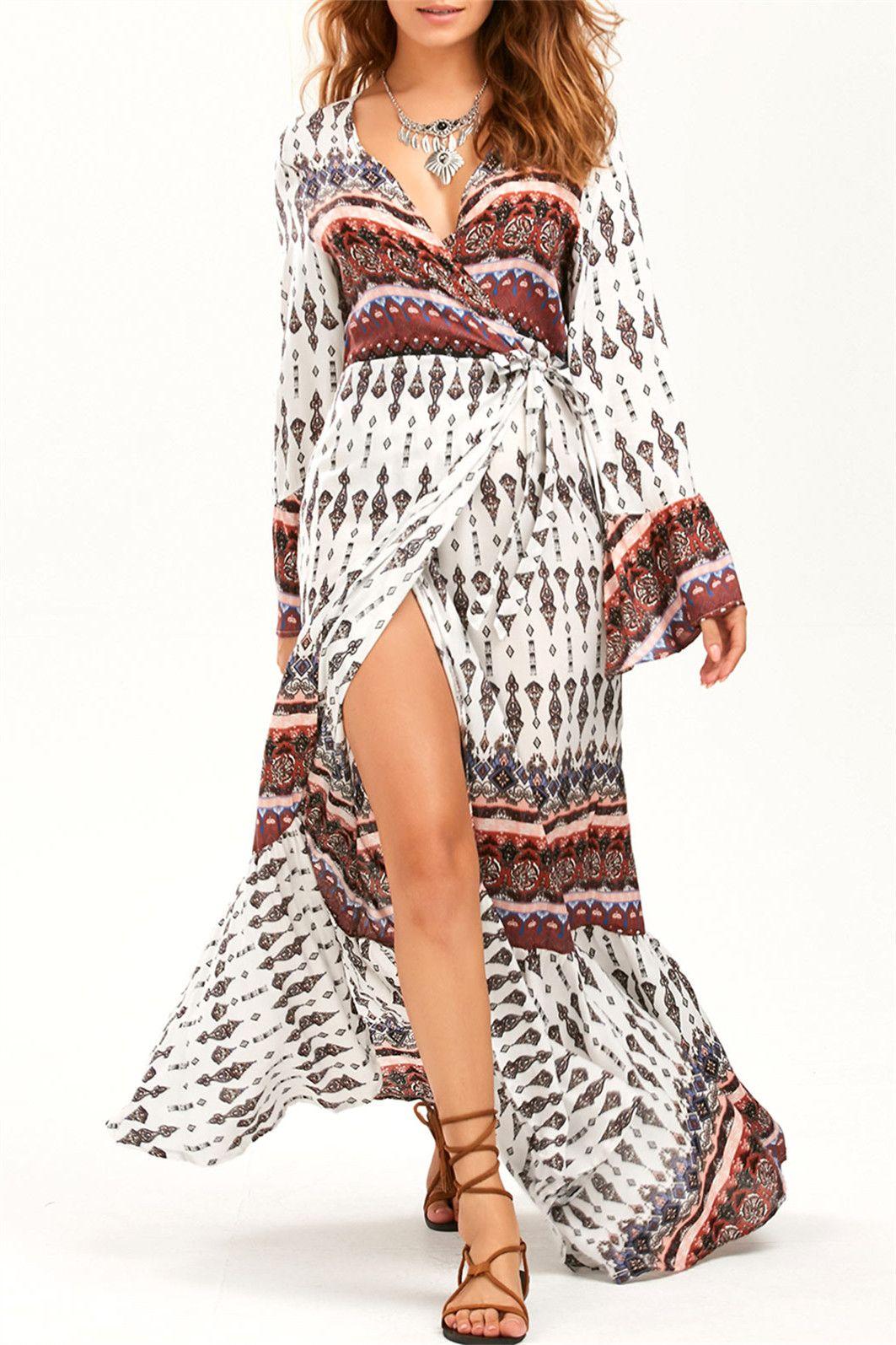 Long sleeve bohemian print wrap maxi dress white one size