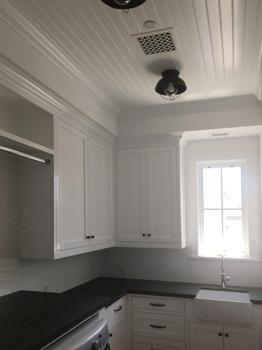 Beadboard Galley Kitchen Ceiling Kitchen Ceiling Ceiling Fan In
