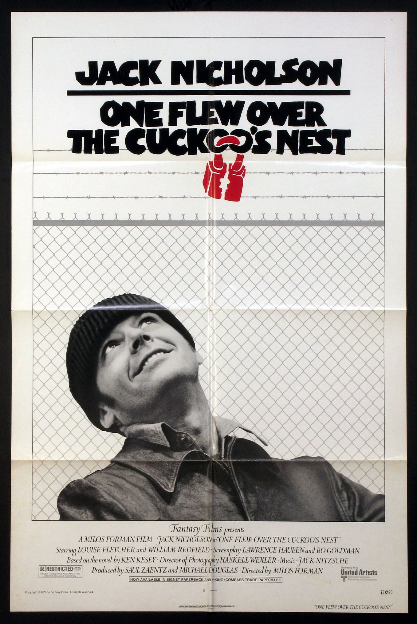 One Flew Over The Cuckoo S Nest 1975 Original One Sheet Size 27x41 Movie Poster Movie Posters Movie Posters Vintage Retro Film Posters