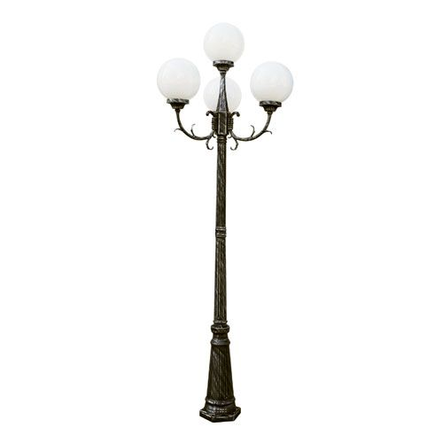 Madison 89 Inch 4 Globe Four Light Outdoor Lamp Post Swedish Iron Trans Globe  Lighting Po