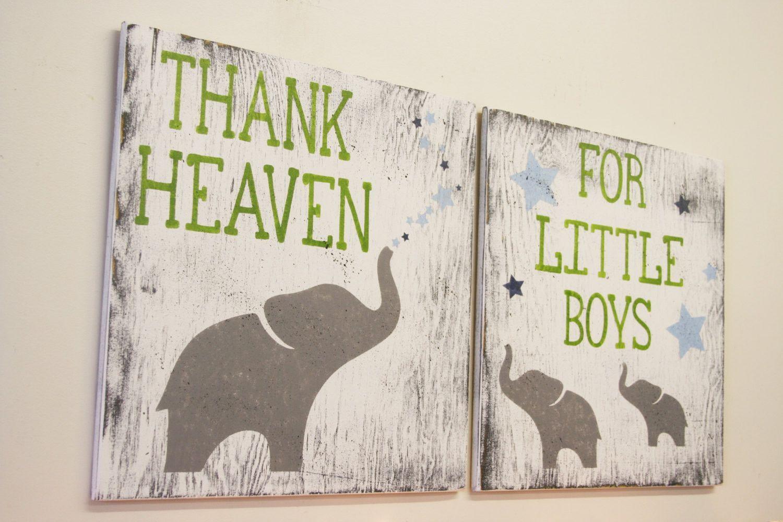 Thank Heaven For Little Boys Nursery Wall Art