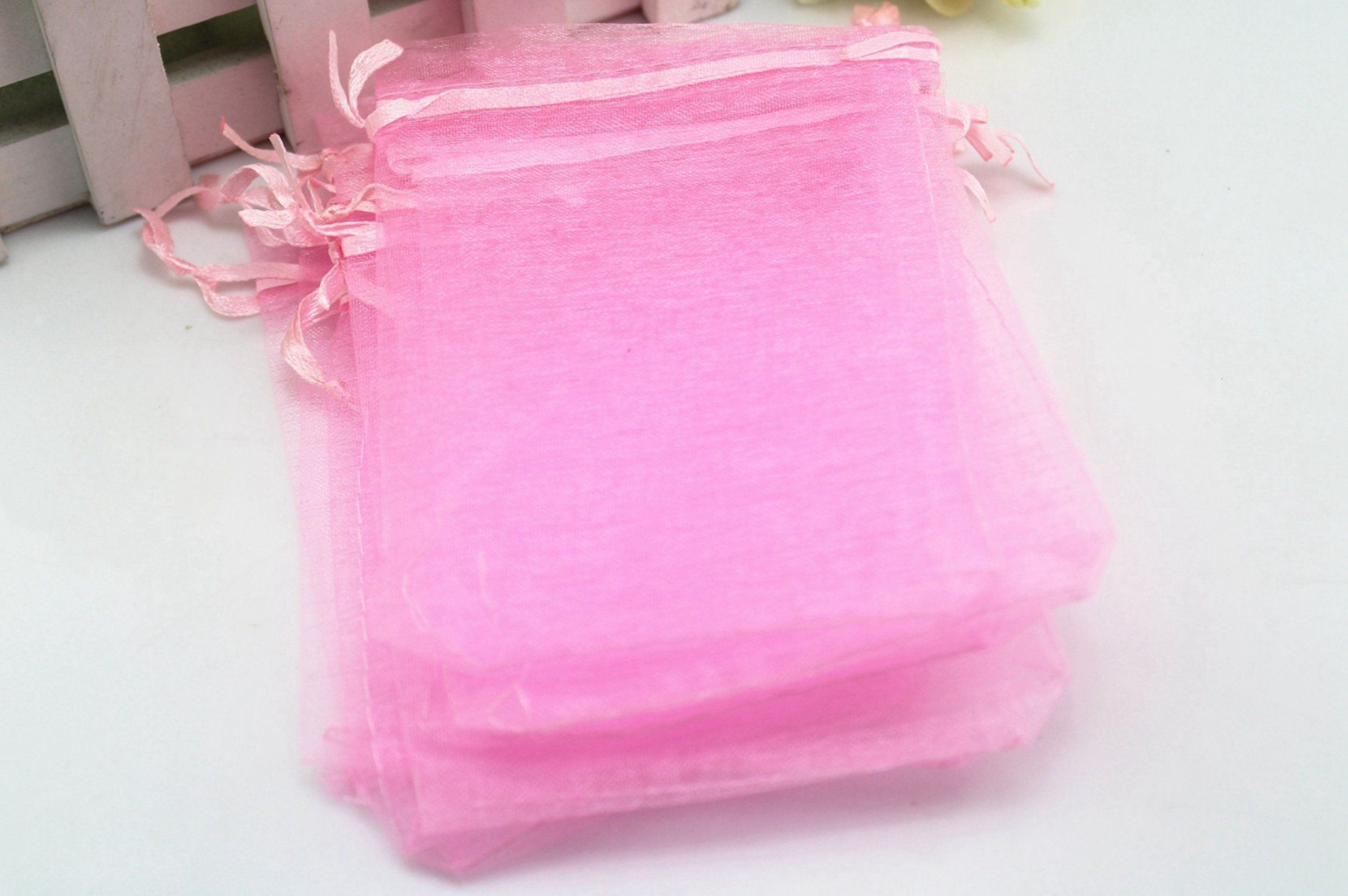 3.5x4.7 Inch 100 Organza Jewelry Gift Pouch Candy Pouch Drawstring ...