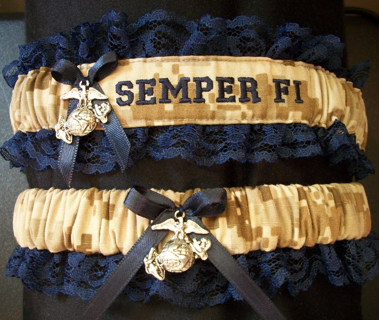 Us Marine Set With Semper Fi Embroidered On It And An Ega Charm Both Garters 28 00 Via Etsy