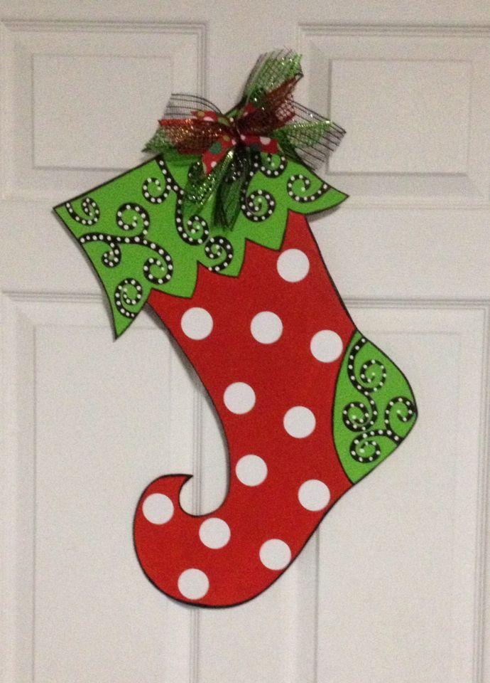 Wooden stocking door hanger | Christmas | Pinterest ...