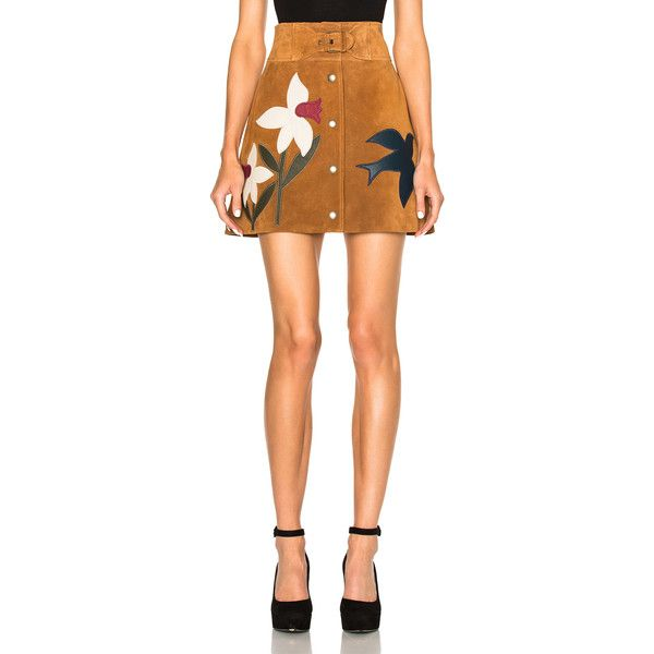 Red Valentino Suede Patch Mini Skirt (€1.085) ❤ liked on Polyvore featuring skirts, mini skirts, embroidered mini skirt, real leather skirt, button front skirt, leather skirt and red valentino