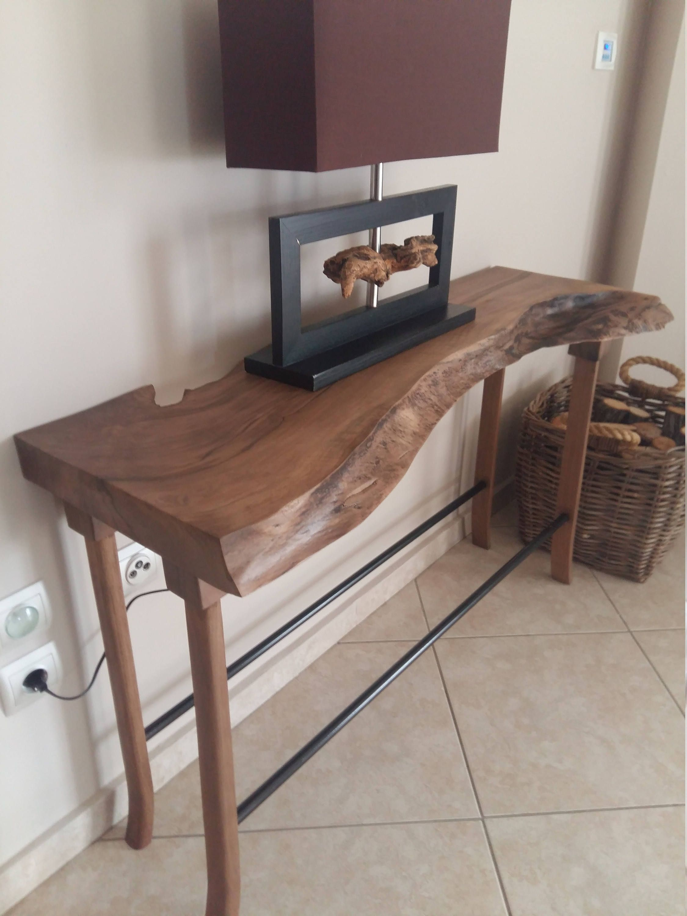 Items Similar To Walnut Console Table Live Edge Entryway Table Signature Live Edge Table On Etsy Live Edge Console Table Live Edge Table Console Table
