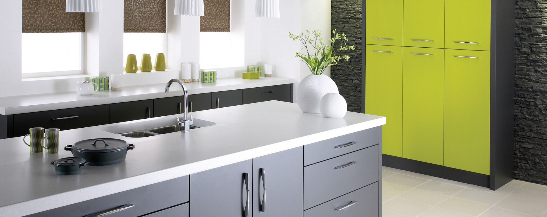 Anthracite And Lime Kitchen Design. Burbidge Alto From KAM Design Preston.  Central Island With Part 46
