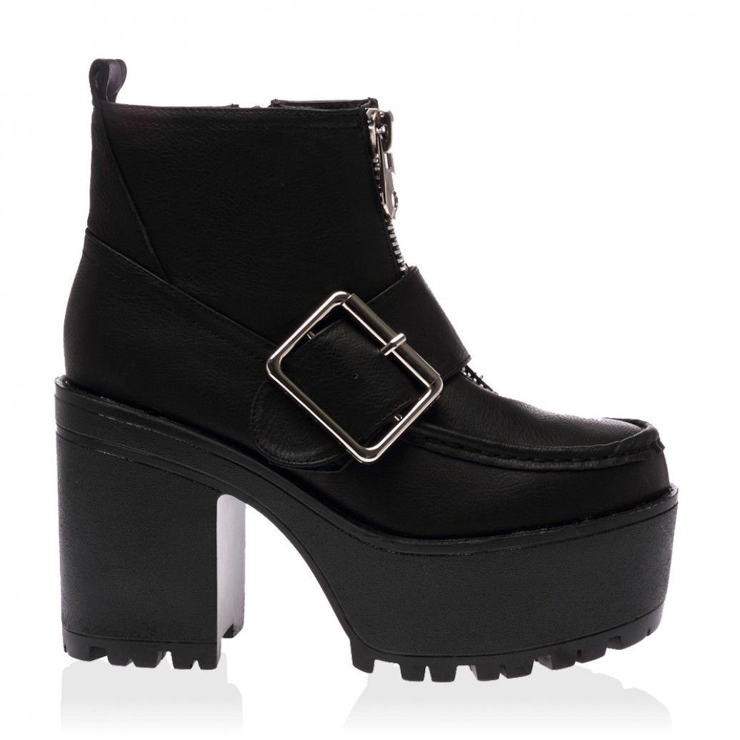 Sharnie Black Block Heel Boots