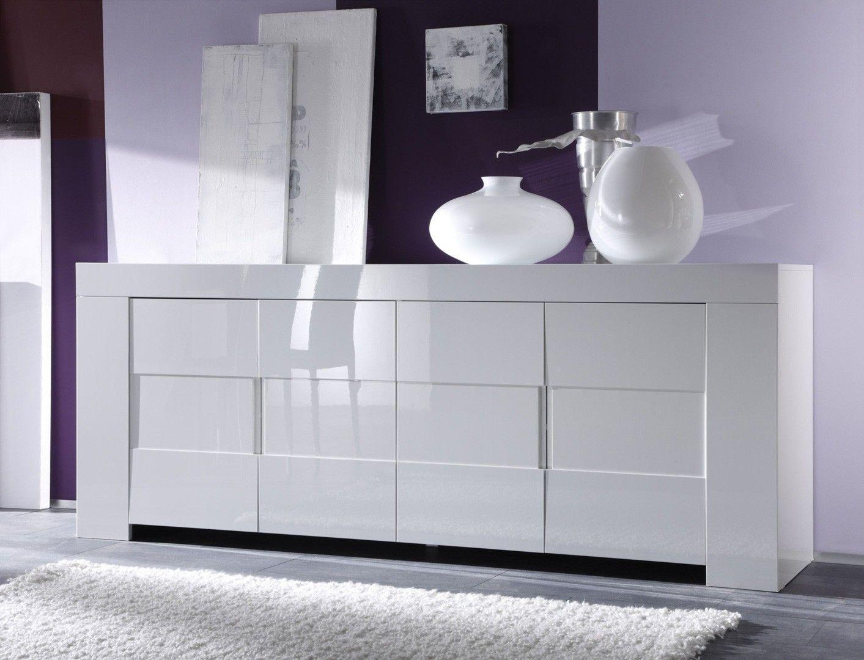 Buffet Bahut 4 Portes Design Laqu Blanc Judy Porte Design  # Meuble Salon Design Laque Blanc